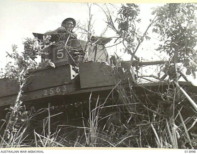 1942-12-05. PAPUA. CAMOUFLAGED AUSTRALIAN TANK AWAITING THE SIGNAL TO MOVE FORWARD INTO ATTACK IN THE BUNA ACTION. MEN ARE FROM 5 TROOP, B SQUADRON, 2/6TH AUSTRALIAN ARMOURED REGIMENT.