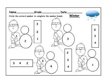 Winter Themed Number Bonds Worksheets