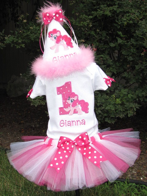 My Little Pony - Pinkie Pie - Tutu Set.  Includes Boutique Tutu and Embroidered Top. $50.00, via Etsy.