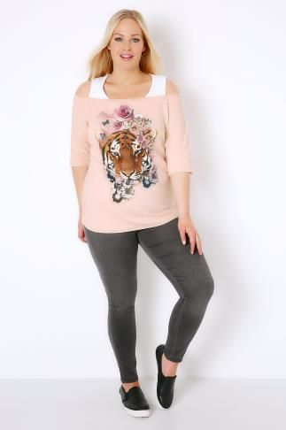 Nude Pink & White Floral Tiger Printed 2 In 1 Bardot Top 156036