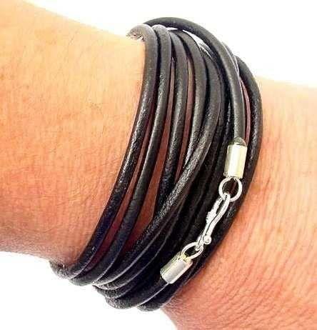 pulseira couro masculino disponível preto,marrom e mrinho