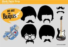 Beatles Party Photo Booth Prop, Instant Download,Party Printable - Rock Band…