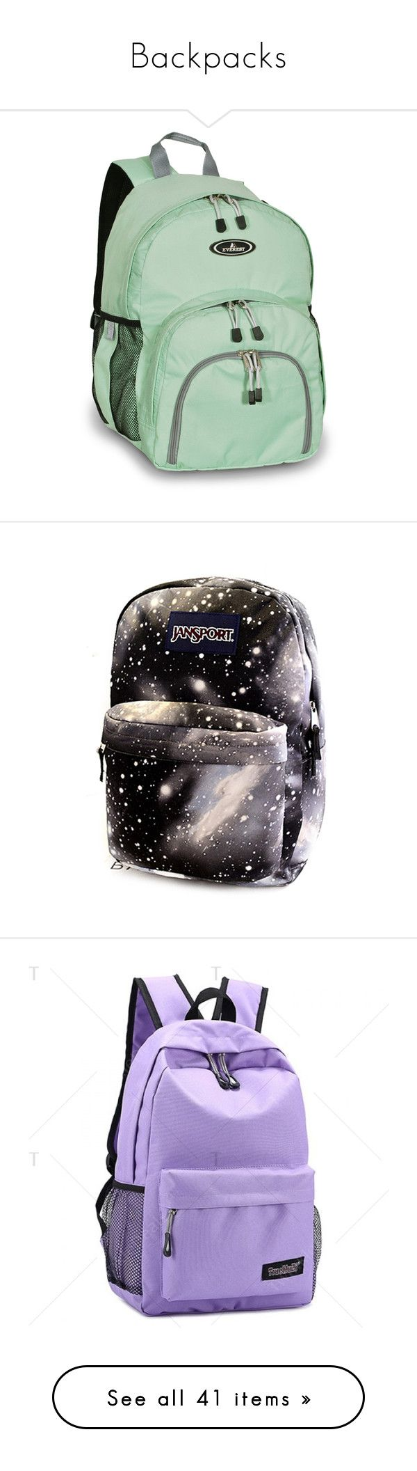 """""""Backpacks"""" by arstymolly ❤ liked on Polyvore featuring bags, backpacks, blue, day pack backpack, green backpack, sporty backpacks, lightweight backpack, lightweight daypack, accessories and black"""
