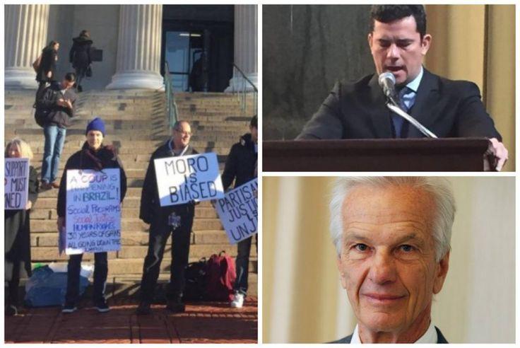 A palestra do juiz Sergio Moro em Nova York nesta segunda-feira, oferecida pelo empresário Jorge Paulo Lemann, dono da Ambev, terminou em protesto organizado por estudantes e professores, que avali…