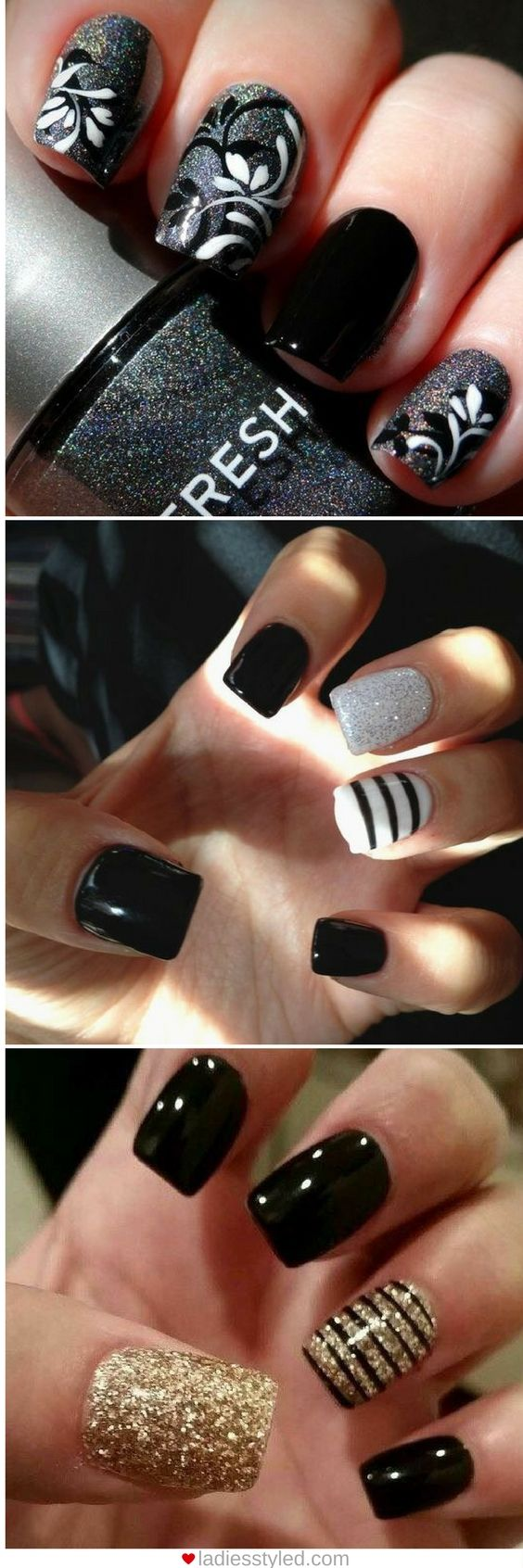 Best 25 black nail designs ideas on pinterest black nail black 106 beautiful nail art designs to copy right now prinsesfo Choice Image