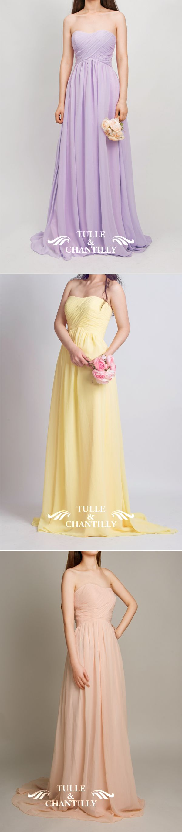 chiffon strapless bridesmaid dresses in lilac, yellow and rose