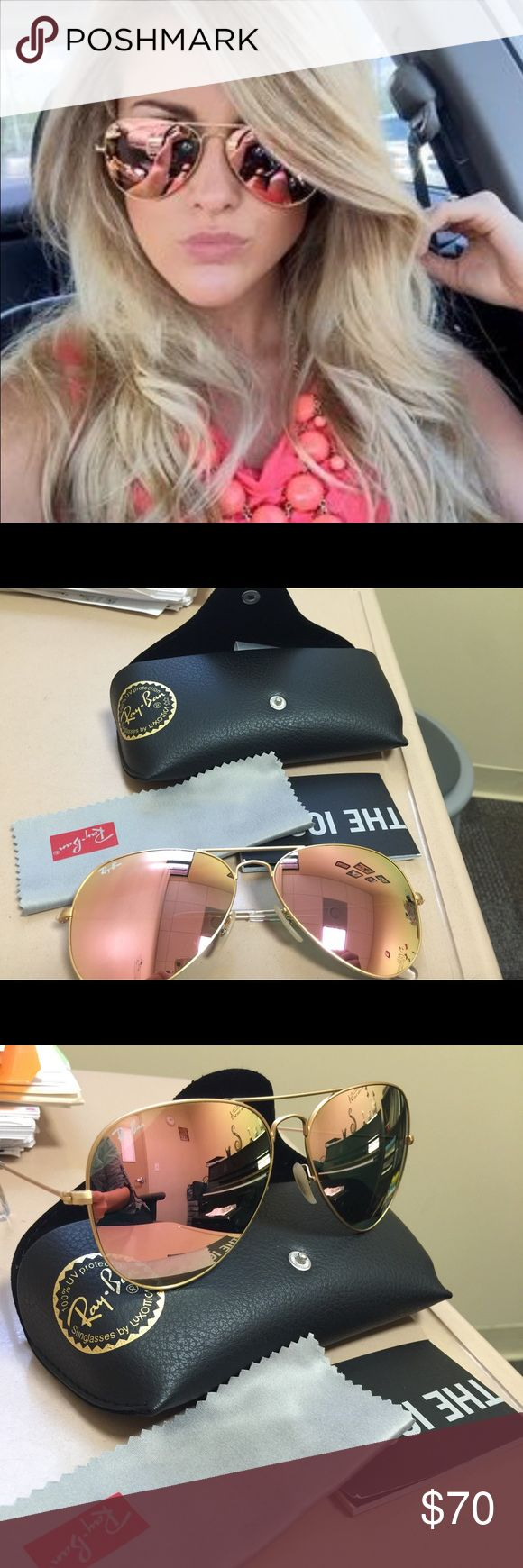 Beautiful Ray Ban aviator sunglasses Beautiful pink and golden Ray Ban aviator sunglasses. RB3025. 58-143N. They look good on anyone. You are going to live them. PRICE IS FIRM. Ray-Ban Accessories Sunglasses
