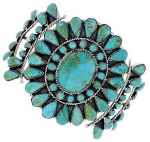 Southwest Silver Jewelry Turquoise Cuff Bracelet MX27868