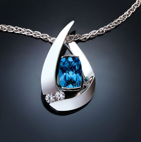 blue topaz necklace - white sapphires - Argentium silver pendant - December birthstone - contemporary jewelry - 3378