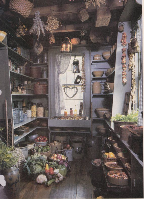 Primitive colonial pantry. Picture torn from and old, unknown magazine.  Primitives and Fall – A Match Made In Heaven | Just Vintage Home