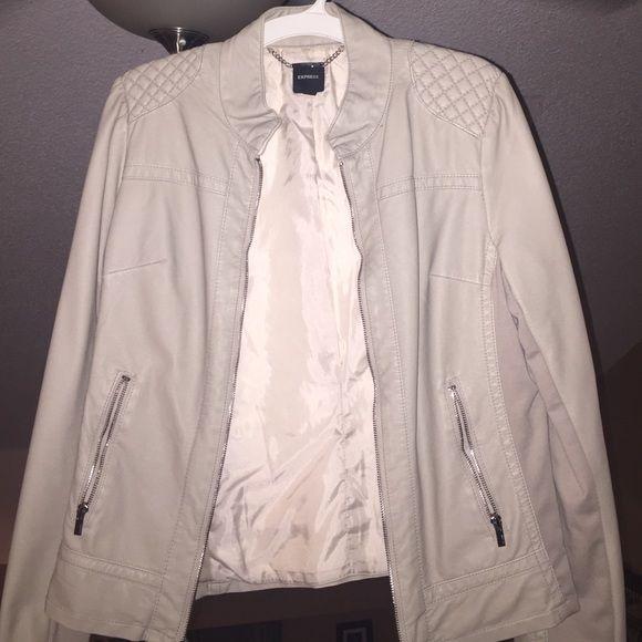 Tan leather jacket Express tan leather jacket, has cloth side panels, full zip, never worn Express Jackets & Coats Utility Jackets