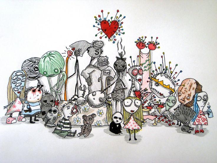 TAAL - Thema Halloween... gedichten door Tim Burton over kinderen, gemaakt met bijhorende tekeningen. Heeft een duistere stijl, maar is niet té duister voor kinderen: veel zwart, grote ogen, en vervreemdende elementen... Meerdere uitgangspunten voor lessen zie ik hier mogelijk: Laat kids een illustratie maken bij een gedicht, of zelf iets schrijven bij zo'n tekening (een verhaal, beschrijving, twee personages ontmoeten elkaar), ... Of media en muziek integreren met een filmpje,...