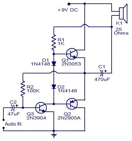 Three transistor audio amplifier Circuit