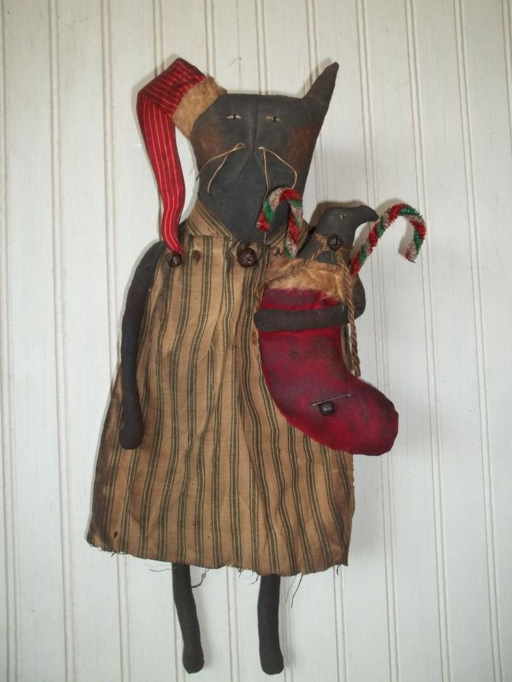 Primitive Grungy Missy Kitty Cat Christmas Doll & Stocking, Crow & Candy Canes #NaivePrimitive