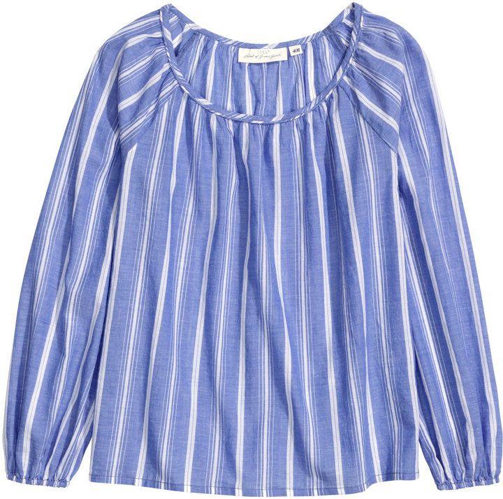 H&M - Cotton Blouse - Blue/Striped - Ladies