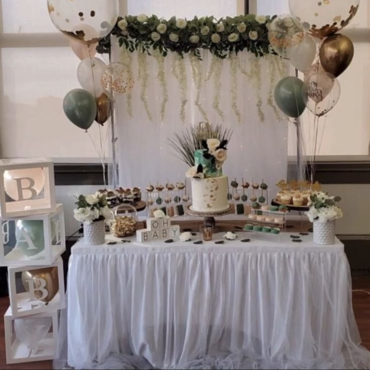 Neutral Baby Shower Ideas Color Schemes In 2020 Baby Shower Balloons Green Baby Shower Outdoor Baby Shower