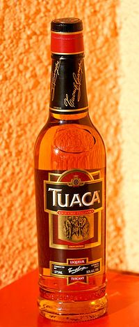 Drink lust: Tuaca. The liqueur is sweet and golden brown in color. Its ingredients include brandy, essence of orange, and vanilla. Vanilla is the dominant flavor. It is bottled at 70 proof (35% ABV).    The recipe supposedly dates back to the Renaissance. A legend claims that it was created for Lorenzo the Magnificent. Mmmm, what I could do with this.