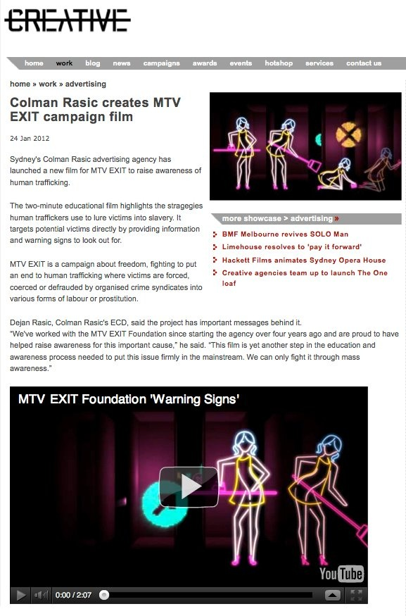 Our MTV EXIT work in Australian Creative.