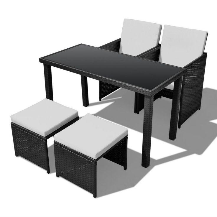 Black Rattan Garden Furniture Table Chairs Stools Cushions Outdoor Dining Set #vidaXL
