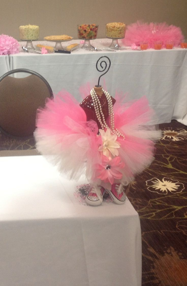 Lovely Tutu Centerpieces  You Can Buy Fish Bowls At Dollar Store And Make Tutu  Around The. Tutu Baby ShowersThemed ...