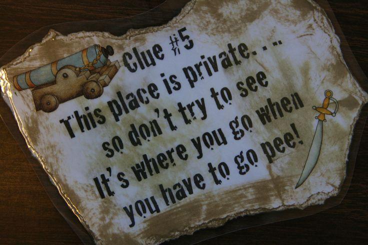 Pirate treasure hunt clue.
