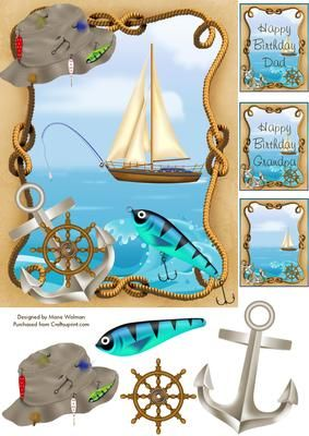 Going Fishing Birthday - now available to purchase from Craftsuprint. http://www.craftsuprint.com/card-making/step-by-steps/male-fishing/going-fishing-birthday.cfm
