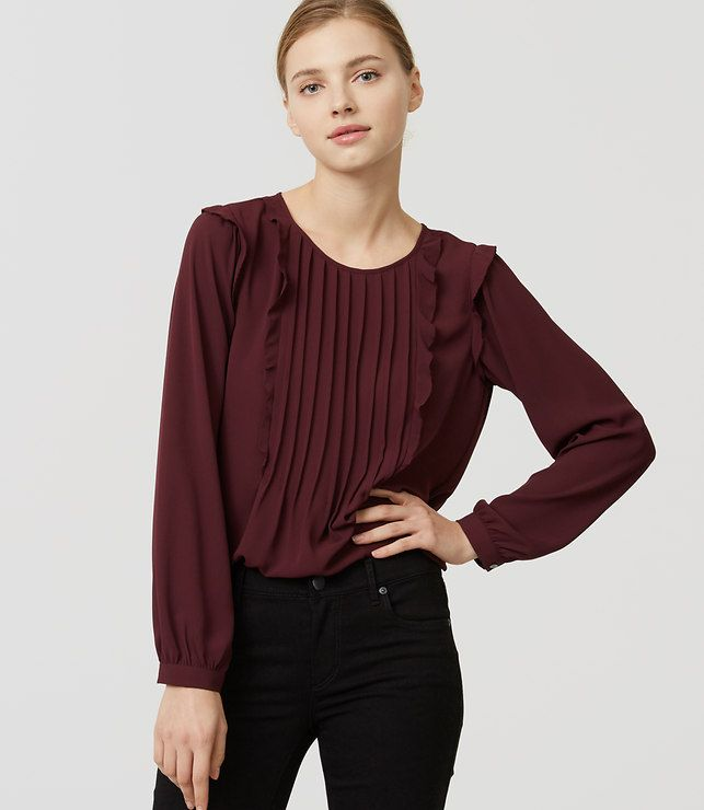 LOFT Pintucked Ruffle Blouse in mauve rose