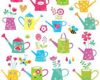 Cutesy Flower Pots Digital Clip Art (Instant Download)