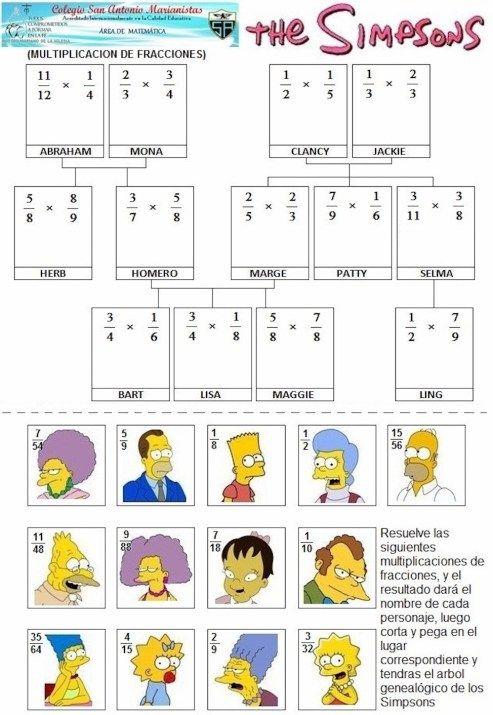 Simpsons Family MULTIPLICACION DE FRACCIONES