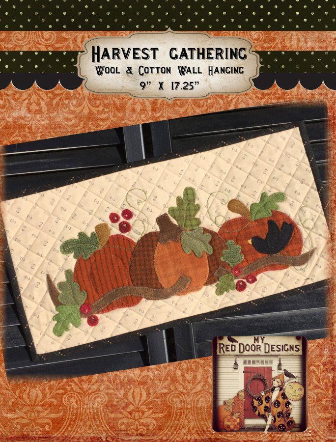 Harvest Gathering wool applique kit and pattern by myreddoordesigns on Etsy