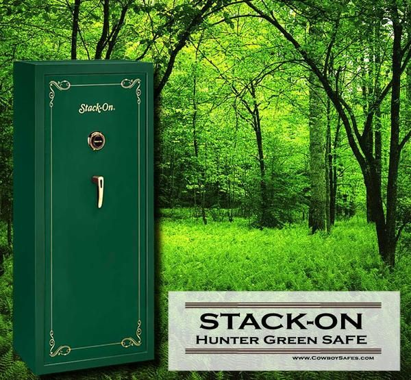 Stack-On Security 16-Gun, Combination Lock, Hunter Green. Stack-On is well-known among Gun Owners for their Quality and Affordable Safes  - www.CowboySafes.com