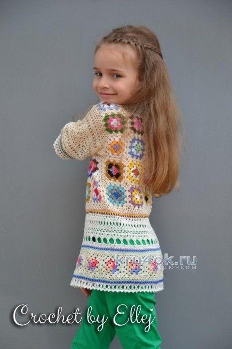 Туника для девочки крючком. Работа Елены Кожухарь вязание и схемы вязания