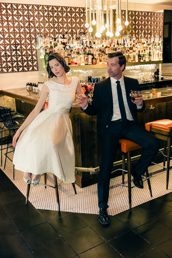 Mod Mad Men Inspired Wedding Shoot at a Retro Fabulous Bar | Esenses Studio | See More! http://heyweddinglady.com/retro-fabulous-mad-men-wedding-styled-shoot-from-esenses-studio/