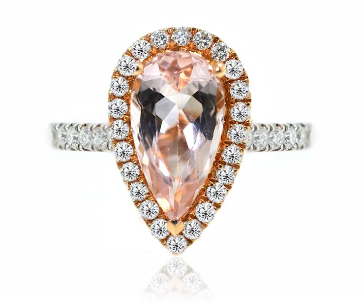 What is the meaning of the Morganite stone? It brings healing, compassion, assurance and promise. With its gentle pink energy, Morganite attunes to the heart and the Heart Chakra. It cleanses the emotional body of stress and anxiety, old wounds and hidden traumas, and enkindles lightness within the spirit, as if a burden has been lifted.   #morganite #rings #engagementrings #weddings #preciousstones #halodiamonds