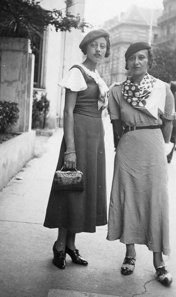 1930s ladies - Just beautiful!! dress scarf blouse shoes purse beret tam hat street fashion found photo print