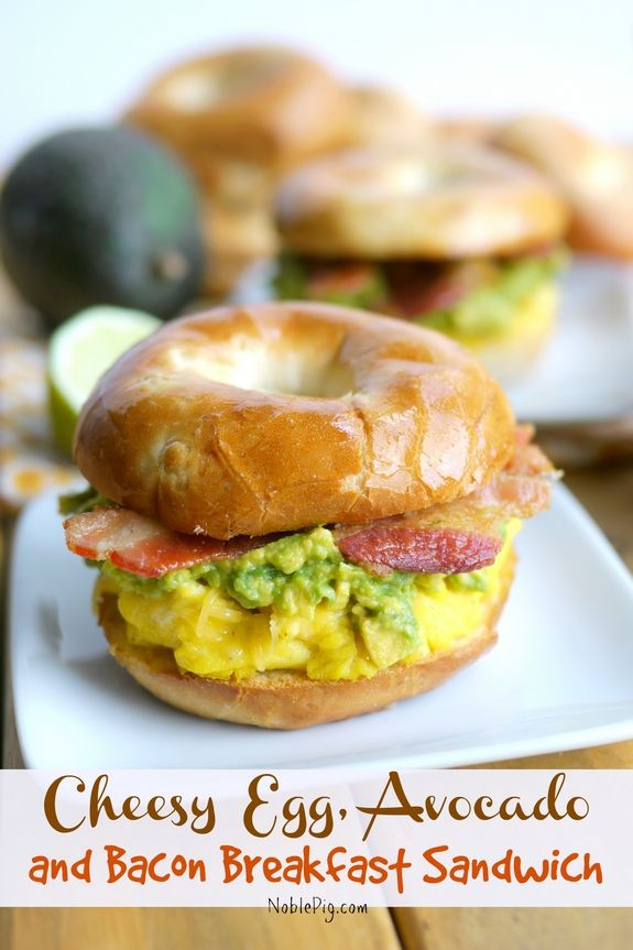Cheesy Egg, Avocado and Bacon Breakfast Sandwich from NoblePig.com.