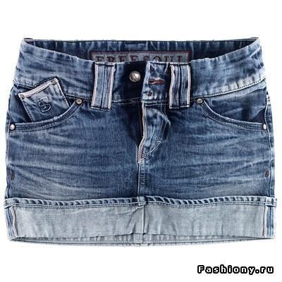 Джинсовая юбка мини женская мода