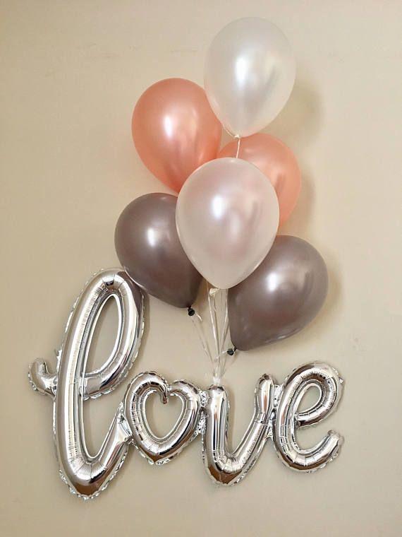Birthday Rose Gold and Burgundy Balloons Rose Gold Confetti Balloons Baby Shower Balloons Bridal Shower Wedding Greige Balloons