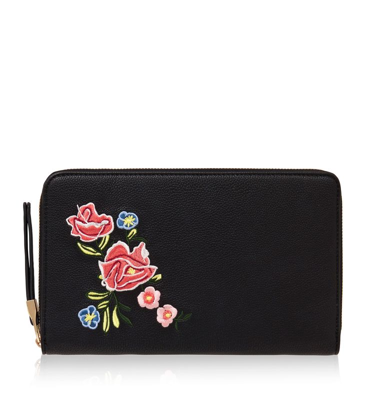 Rochelle Embroidered Travel Wallet Black - Womens Fashion | Forever New