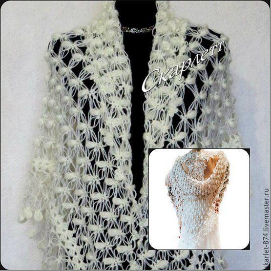 Купить Ажурная шаль крючком, шаль вязаная, свадебная шаль, полушерсть - белый, молочный
