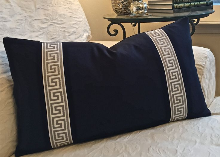 Greek Key and Navy Pillow Cover Designer Pillow Cover 16X26 Lumbar Pillow Invisible Model - Lovely Big sofa Pillows Simple