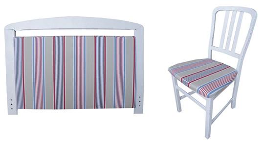 Las rayas interrumpen en las tendencias decorativas 2013. Cabecero y silla disponibles en http://www.starhabit.com