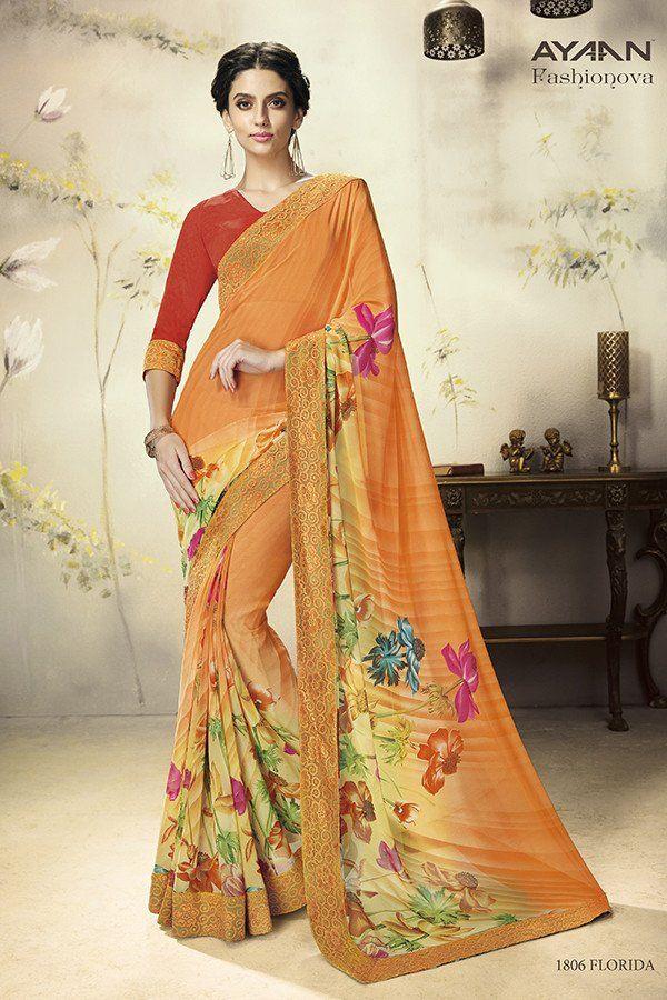 Orange Color Georgette Fabric Saree