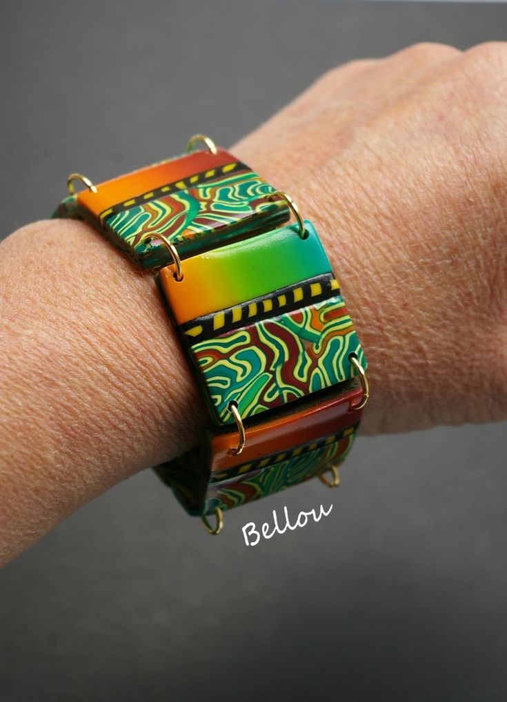 Beautiful polymer clay bracelet by Bellou