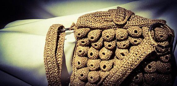 1960s Handmade Vintage Unique Wasp Weave Handbag  Very Cool.