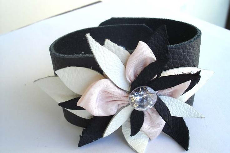 #Black  #Leather Cuff #Leather Bracelet #Jewelry #Wrist Cuff #Wide Leather Cuff   #Flower Leather Bracelet