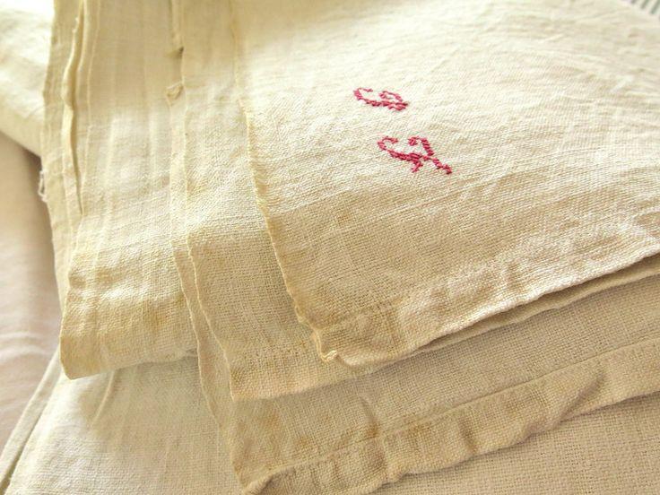 Vintage Tischdecken - Bauern Leinenlaken Monogramm JF - ein Designerstück von Bluedamast bei DaWanda