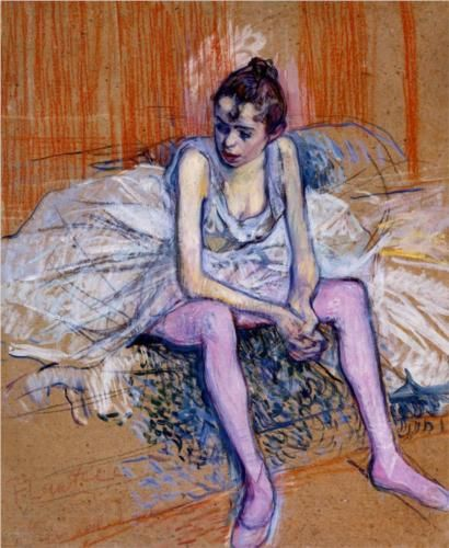 Pos a ver si es verdad, Tolulo. [Seated Dancer in Pink Tights | Henri de Toulouse-Lautrec]