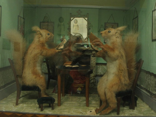 Taxidermy Squirrels Playing Cards At Strong Museum In