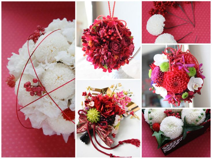 red & white flowers for wedding  kimono 和装